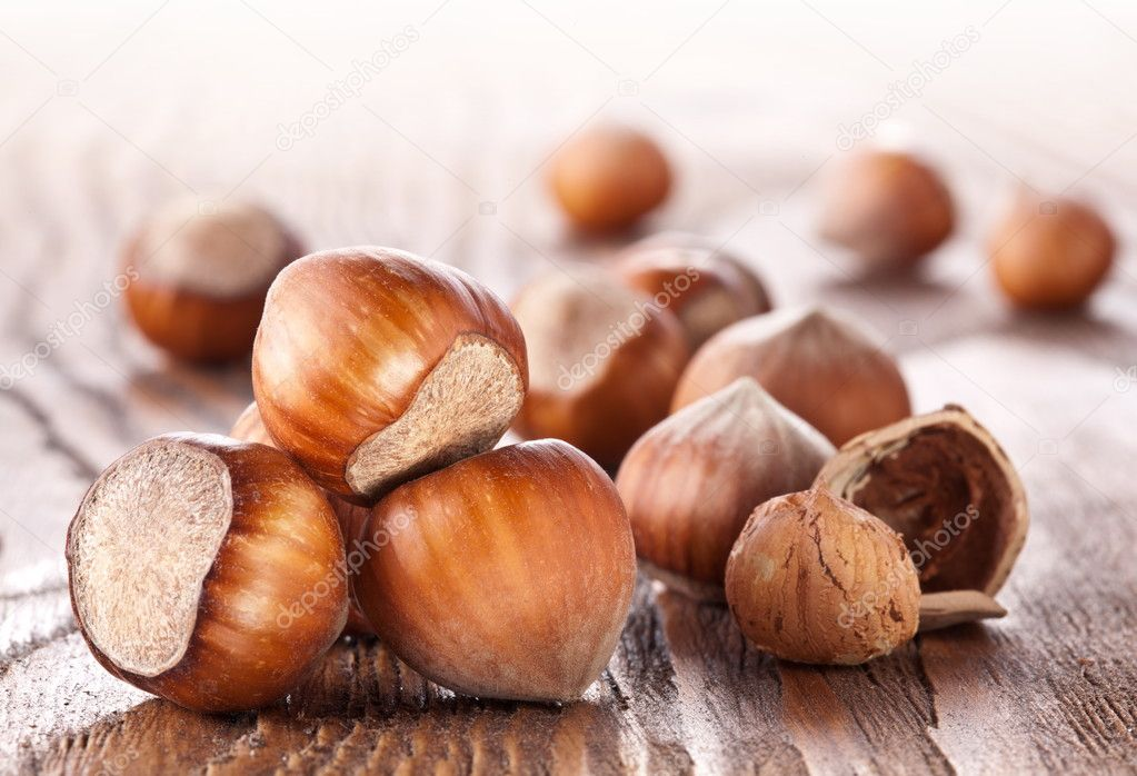 Filberts on a wooden table. Close-up shot. — Stock Photo #8838219