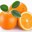 Orange fruits on a white background. - Foto Stock