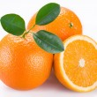 Orange fruits on a white background. - Stock Photo
