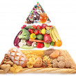 Food pyramid for vegetarians. Isolated on a white background. — Stok fotoğraf