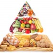 Food pyramid for vegetarians. Isolated on a white background. — ストック写真