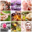 Collection of spa treatments and massages. - Zdjęcie stockowe