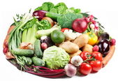 Variety of vegetables are laid out in a circle — Stock Photo