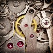 Mechanical clockwork. Close up shot. - 
