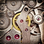 Mechanical clockwork. Close up shot. — Stock Photo