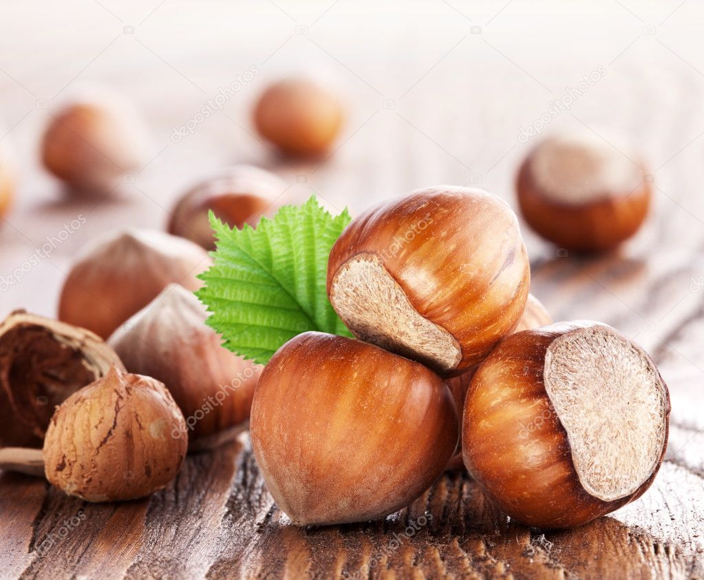 Filberts on a wooden table. Close-up shot. — Stock Photo #9599543