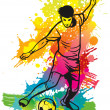 Soccer player kicks the ball — Stock Vector #9400976