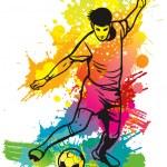 Soccer player kicks the ball — Stock Vector