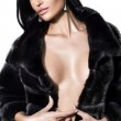 Sexual woman in underwear and in a fur coat — Stock Photo