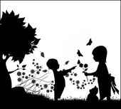 Children with Flowers Silhouette — Stock Vector
