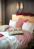 Winter decoration in sleeping-room — Stock Photo
