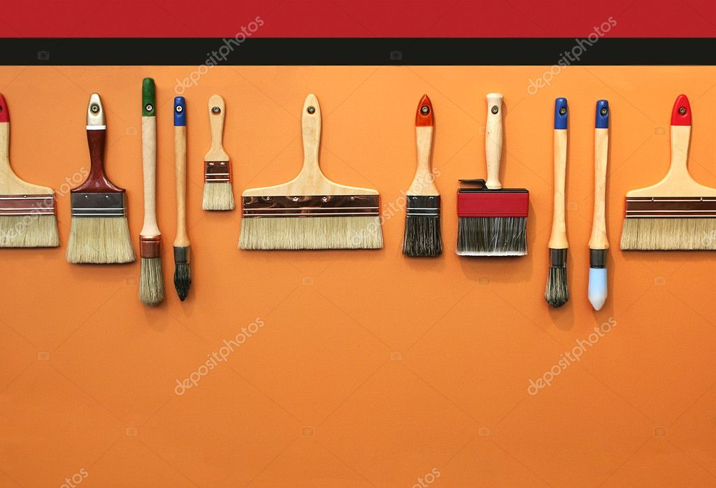 Row of brushes for background — Stock Photo #8026335