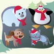 Royalty-Free Stock Vector Image: Winter animals