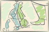Career illustration in one line — ストックベクタ