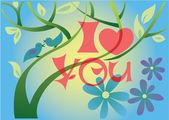 Spring love tree — Stock Vector