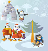Family visit illustration for Christmas — Stock Vector