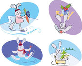 Merry konijnen — Stockvector