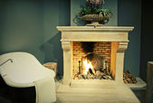 Bathroom with fire place — Stock Photo
