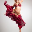 Beautiful young belly dancer , isolated on white — Stock Photo