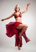 Beautiful young belly dancer , isolated on white — Foto Stock