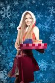 Piękna młoda kobieta w santa claus ubrania — Zdjęcie stockowe