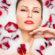 Milk and Roses, glamour closeup portrait — Stock Photo #8467190