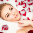 Stock Photo: Milk and Roses, glamour closeup portrait