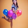Beautiful pin up with balloons — Stock Photo #8467657