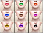 Collage, lips, close-up portrait — Stockfoto