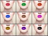 Collage, läppar, närbild porträtt — Stockfoto