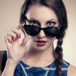 Beautiful and fashion girl in sunglasses — Stock Photo