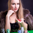 Sexy woman with game chips — Stock Photo #9262578