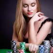 Sexy woman with game chips — Stock Photo
