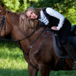Walk of beautiful young girl with horse — Stock Photo #9262649