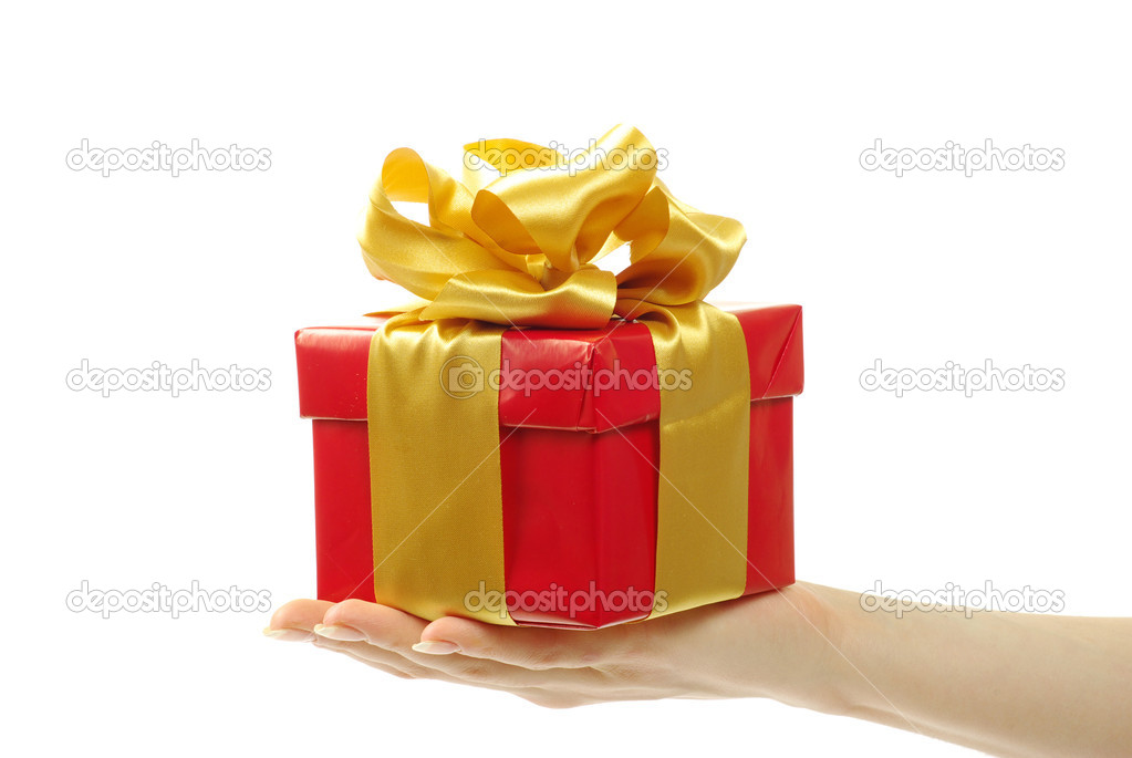 Gift box with ribbon on white background  Stock Photo #7990961