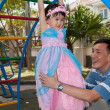 Daughter in Playground with Dad — Stock Photo