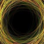 abstractos coloridos garabatos sobre un fondo negro con espacio para — Vector de stock