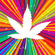 Cannabis leaf on abstract psychedelic background, vector, EPS10 — Image vectorielle