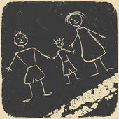 Happy family doodle. Picture on asphalt. Vector illustration, EP — Stock Vector