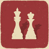 King and queen. Retro chess background, vector illustration, EPS — Stock Vector