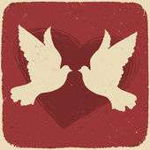 Two lovers doves. Retro styled illustration, vector, EPS10 — Stockvektor
