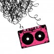 Audiocassette tape with tangled. Vector illustration. — Stock Vector