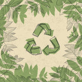 Recyklované symbol, vytištěné na papíře opakované použití. v rámci listí. vect — Stock vektor