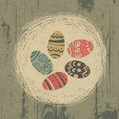 Oeufs de pâques en nid sur la texture en bois. fond de pâques, rétro — Vecteur