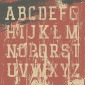 Alphabet occidental de grunge Vintage, set vector — Vecteur