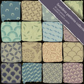 Seamless patterns collection. All used patterns available in swa — Stock Vector