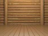 Lege houten kamer — Stockfoto
