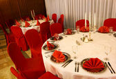 Luxury place setting in red — Stok fotoğraf