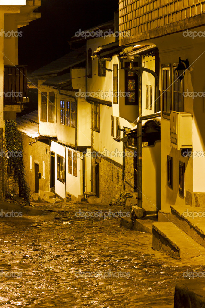 Narrow street at night in the old town Veliko Tarnovo in Bulgaria   Stock Photo #8934484