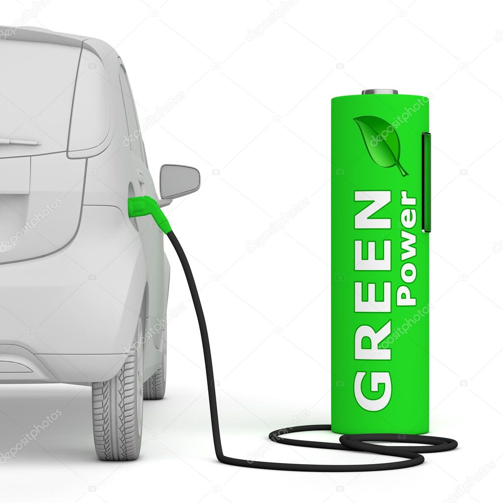 Alternative energy green power - a green battery as a fuel pump fuels an E-Car - back view, square aspect ratio — Stock Photo #10105515